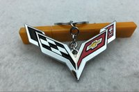 4s auto großhandel-Beliebt für Chevrolet Corvette Schlüsselbund, Auto 4S Shop kleines Geschenk bevorzugt, personalisierte kreative Metall Auto Schlüsselbund