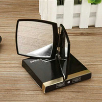 Wholesale cosmetic bag designer resale online - C Classic Folding Double Side Mirror Portable Hd Make up Mirror And Magnifying Mirror With Flannelette Bag Gift Box For VIP Client