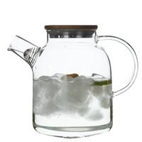 бамбук нотный стан оптовых-Стеклянный заварочный чайник с Bamboo крышка Печка Top Safe Heat боросиликатного стекла Чайник Кувшин для чая Сок Вода Кофе 1800ml