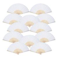 weiße papierhandfächer großhandel-Beste 12er Pack Handfächer White Paper Fan Bambus Faltfächer Handheld Faltfächer für Kirche Hochzeitsgeschenk, Party Favors DIY