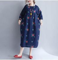 yarım ince toptan satış-Mferlier Kadınlar Yaz Bahar Yarım Kollu Elbise Çiçek baskı O Boyun kadınlar için Bir çizgi gevşek Ince elbise