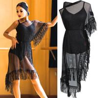 bd46324390cd Nuovo vestito da ballo latino Vestito a frange in maglia nera Cha Cha Salsa  Samba Costumi di carnevale Abbigliamento da donna Esibizione prestazione ...