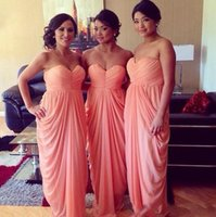 Wholesale sleeveless junior bridesmaid dresses for sale - Group buy 2020 Simple Coral Pink Chiffon Bridesmaid Dresses Long Sexy Sweetheart Backless Wedding Guest Dress Plus Size Junior Bridesmaids Gown