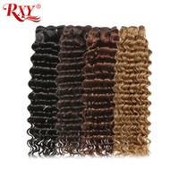 colorido cabelo humano tecer venda por atacado-RXY brasileira onda profunda cabelo humano # 1B / # 2 / # 4 / # 27 Pacotes Colorido Pacotes onda profunda brasileira Cabelo Weave Pacotes encaracolado virgem