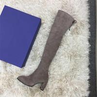ingrosso stivali 7cm-2019 scarpe firmate Inverno Nuovi Stivali Casuali coscia-alta di lusso Stivali Les Chaussures delle donne da 35 a 42 iarde Heel 7 centimetri grigio
