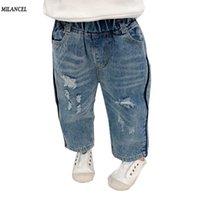 ingrosso jeans pant ragazzo nuovi stili-MILANCEL 2019 molla nuove jeans dei capretti solidi ragazzi Jeans Pantaloni Rip denim per ragazze allentato ragazze di stile Solid Ragazzi Pantaloni