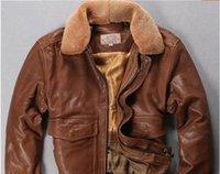 chaqueta de cuero marrón hombres venta al por mayor-amarillo chaqueta marrón bombardero de vuelo de cuero genuino de los hombres chaquetas AVIREX FLY en venta