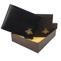 erkekler için küçük deri çantalar toptan satış-Deri cüzdan erkek moda çift kat kart çanta cüzdan erkek kısa küçük boyutu değişim cep çanta hediye kutusu ile yüksek kalite