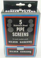 pantallas de tubo de latón al por mayor-pantalla de pipa de metal pantalla de pipa de tabaco pantallas de pipa de fumar color plata 0.78