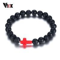 cadena de eslabones de madera al por mayor-Vnox Unique Wood Cross Charm Bracelet for Women Men Negro Lava Beads Link Chain Bilezik Tamaño ajustable