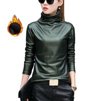 Wholesale red leather sleeve shirt for sale – winter European Punk Plus Size Women Blouse Autumn Turtleneck Long Sleeve Tops Shirt Ladies Velvet Stretch Camisas Pu Leather Blouses Y190822