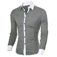 elegante camisa de vestir masculina al por mayor-Marca camisas casuales hombres de negocios camisas de vestir de manga larga cuello de algodón con estilo de alta calidad de los hombres camisas sociales