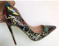 735d1de273 Hot lBottom Specia Graffiti Colorido Mulheres Bombas Sexy Stiletto de salto  alto Primavera Festa de Casamento Das Mulheres Sapatos femininos sapato  feminino