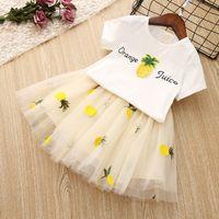 roupas de mulher branca venda por atacado-Meninas Vestuário Set criança Princesa roupas de verão crianças roupas para a menina T-shirt branco Tutu Saias 2pcs Suits Crianças traje abacaxi