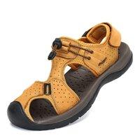 ingrosso scarpe in pelle clog-Scarpe estive Sandali da spiaggia da uomo Sandali in pelle PU Uomo Zoccoli per mare all'aperto Appartamenti traspiranti Muli casual zapatos de hombre