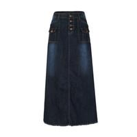 хараюку юбки оптовых-Женская мода Длинная средняя талия Кнопка карман передний прямой джинсовый макси юбки Harajuku Faldas Mujer Moda 2018 юбки женские J190514