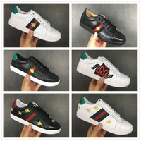 Wholesale sport casual shoe discount resale online - Discount Cheap Designer Men Women Sneakers Casual Shoes Low Top Leather Sneakers Ace Bee Stripes Shoe Walking Sports Trainers Drop Shipping
