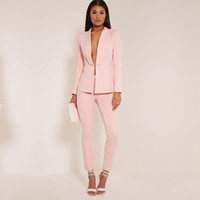 Wholesale women s white elegant suit for sale - Group buy New Light Pink fashion womens business suits ladies elegant formal pant suits for weddings female trouser suits