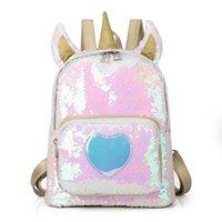 patrones de mochila para niños al por mayor-Niños Unicornio Lentejuelas Mochilas Láser de dibujos animados Patrón Corazón Bolsas Bolsas Viajes niñas bebés niños Bolsas escolares niños Hombros bolsas C5594