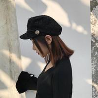 boina elegante al por mayor-Nueva Moda Sombrero Negro Cap Mujer Casual Streetwear Cuerda Gorra Plana Elegante Sólido Otoño Invierno Cálido Boina Sombrero Mujer