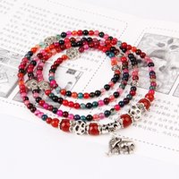 Wholesale natural red garnet beads resale online - Fashion Jewellery Natural Garnets Agate Multilayer Baby Elephant Pendant Mix colors Beads Beaded Bracelet