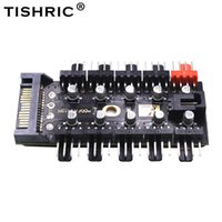 Wholesale pc fan 12v resale online - TISHRIC New to Pin PC Pwm Fans Sata V Power Hub Splitter With Led Molex Cable Cooler Cooling Adapter For Btc Mining