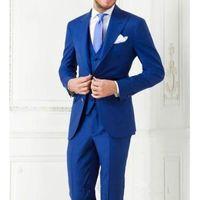 Wholesale purple tuxedo for men wedding resale online - TPSAADE Hot Sale Blue Groom Tuxedos high quality Men Suit for Wedding Business men suits Groom Wear Jacket Pants tie Two Piece