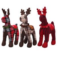 ingrosso cervi di decorazione di natale-30 * 18cm decorazioni natalizie alce peluche 3 stili Sika cervi bambole bambini giocattoli di peluche regalo di Natale