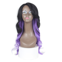 ondas sueltas de pelo largo al por mayor-Sintético Loose Wave Hair Ombre Black Purple Long Lace Wigs Bangs Side Part Pelucas para mujeres Zxtress