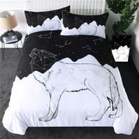 hayvan yorgan takımları toptan satış-Kurt Nevresim Seti Constellation Hatları Yatak Seti Siyah Beyaz Geometrik Yorgan Kapak Hayvan Yatak örtüleri 3adet
