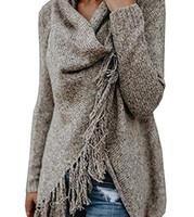 abrigo cardigan de lana grande al por mayor-Cardigan de mujer Bonito suéter Mujer europea y americana Borla suéter bufanda de gran tamaño 4 colores Lana de dobladillo irregular Abrigo de punto