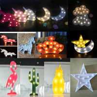 luces de noche en forma de corazón al por mayor-Tabla niños lindos de la lámpara de Navidad luces LED flamenco del corazón del unicornio forma de piña linterna lámparas de decoración de la noche a casa de luz ambiental Modelado
