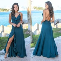 Wholesale red dres gold for sale - Group buy 2019 Hunter Ruffles Split Sides Bridesmaid Dresses Spaghetti Straps V Neck A Line Beach Chiffon Maid Of Honor Prom Gowns Backless Cheap Dres