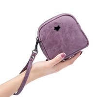 Wholesale wristlet pouch resale online - 2020 New Women PU Leather Day Clutches Wristlet Change Purse Double Zipper Napkins Storage Bag Lady Lipstick Case Pouch