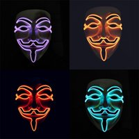 Wholesale woman vendetta masks for sale - Group buy EL Cold Light Illuminate Mask V For Vendetta Cosplay Makeup Facepiece Halloween Prop Men And Women Funny Gift th I1