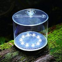 tragbare gärten großhandel-10LED Camping Solar Faltbare Aufblasbare Tragbare Licht Lampe Für Garten Hof Outdoor Led Solar Licht ZZA454