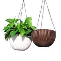 korb wanddekor großhandel-Hängenden Korb Blumentopf Anti Rattan Weben Mini Garten Pflanzer Für Zuhause Wohnzimmer Desktop Decor 12 8wx3 R