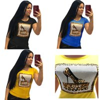 Wholesale leopard girl tee shirt for sale - Group buy Women Girls Love Letter D Print Summer T shirt Beaded Hot Drilling T Shirt leopard print O Neck Short Sleeve Top Tees Shirt S xl C41502