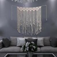 tejiendo los tapices al por mayor-Tejido Colgante de pared Borla Tapiz Macramé Bohemio Boho Chic home room Decor Vintage tejido de ganchillo Tapiz AAA1754