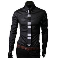 blanc tux noir lapel achat en gros de-Hommes Chemises À Carreaux Brand New Hommes Robe Chemises À Manches Longues Mince Casual Noir Blanc Social Mâle Vêtements Chemise Homme 25