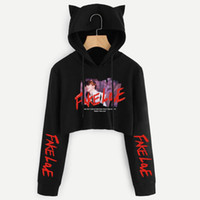 ingrosso felpe con cappuccio-2019 Ragazze da donna Kpop BTS Crop Top Felpa con cappuccio BTS Falso Love Cropped Felpa con cappuccio con Cat Ears Fakelove Felpa con cappuccio Ragazze Cat Ear Clothing