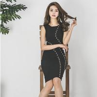 ingrosso abiti di media lunghezza neri-Sexy nero perline O-Collo Vestito di mezza lunghezza Elegante senza maniche aderente Split estate Abito donna Vestidos Femininas