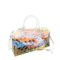 Wholesale pvc handbag transparent resale online - Laser geometric handbag transparent luggage bag colorful travel bags women totes handbag duffle bag summer beach gym handbags FFA1988