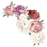 Wholesale wall paper stickers animals resale online - 2019 Peony Rose Flowers Wall Sticker Art Nursery Decals Kids Room Home Decor Gift accessories ramadan home