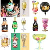 Wholesale costume glasses for sale - Group buy Christmas Decoration Champagne Bottle Aluminum Foil Balloon Cartoon Birthday Party Wine Glass Balloons Wedding Supplies HH9