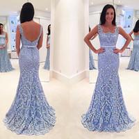 tallas grandes vestidos de coral claro al por mayor-Light Sky Blue Sirena Baratos Vestidos de Noche Sin Espalda Encaje Apliques Abalorios Trompeta Vestidos de Fiesta Cuello Cuadrado Más Tamaño Vestido Formal