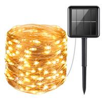 dekoratif led ışık şeritleri toptan satış-LED Dize Işıklar Bakır Tel Güneş LED Peri lamba 20 M 200 LEDs Şerit Dekoratif Işıklar için Bahçe, veranda, Partiler, Noel Ağacı