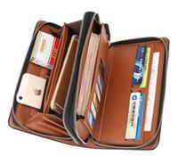 Wholesale brand mens clutch bag online - Luxury Wallets Double Zipper Leather Male Purse Business Men Long Wallet Designer Brand Mens Clutch Handy Bag carteira Masculina