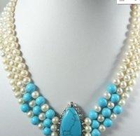 ожерелье из голубого бирюзового жемчуга оптовых-ожерелье Бесплатная доставка ++++ Бесплатная доставка @@@@@ Красивые 3 ряда Blue Jade Белый Жемчуг Кристалл Бирюзовый Ожерелье JGJF48787TT