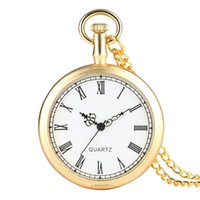 Wholesale white faced watches for men resale online - Gold Color Open Face Vintage Pocket Watch Men Pendant Fob Watches Women Clock White Dial Hour Best Gifts for Christmas Birthday Gold